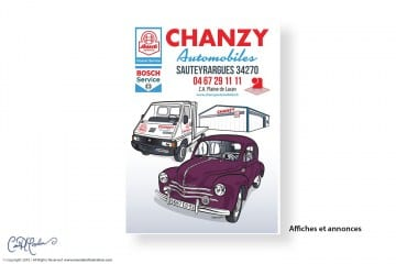 Flyer - Chanzy Automobiles Logo and Car Illustrations