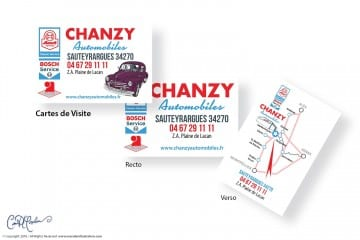 Cartes de Visite - Chanzy Automobiles Logo and Car Illustrations