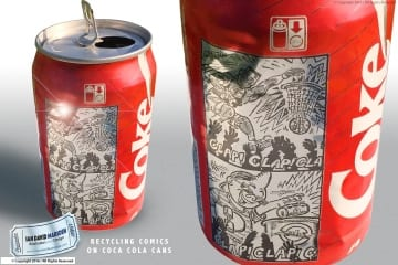 Recycling Comics on Coca Cola Cans