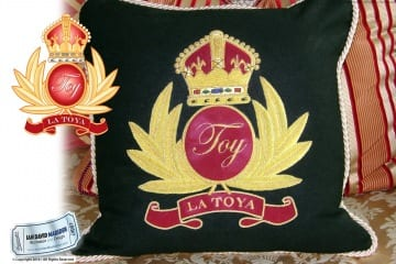 La Toya Jackson TOY Crest Design on Pillow