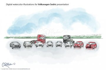 Vehicles - Volkswagen Sedric Concept Illustrations
