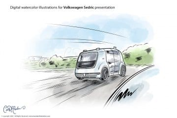 Test Drive - Volkswagen Sedric Concept Illustrations