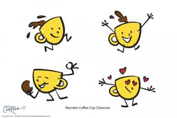 Happy Coffee Cups Characters
