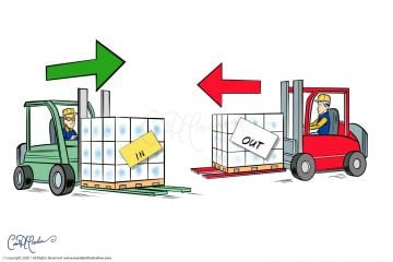 Forklift In out Delivery Vector Graphics