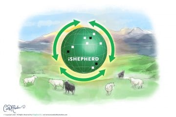 Digital Watercolor Painting and 3D Logo for iShepherd, Inc.