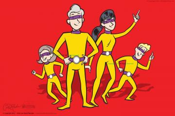 Superhero Family Vector Art