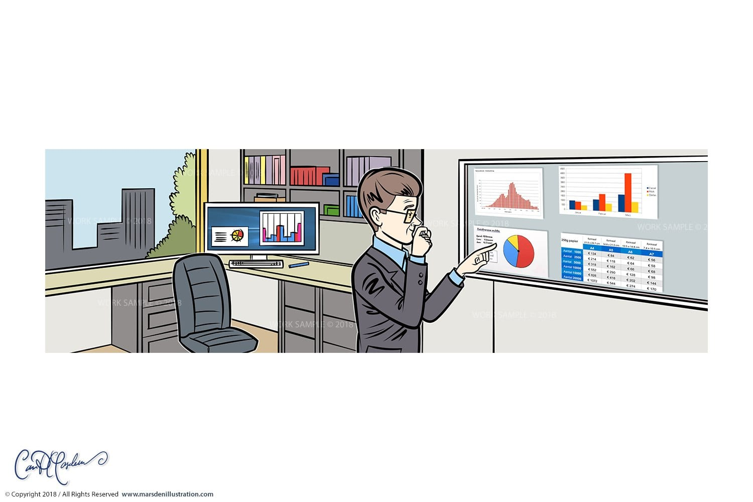 Man in office looking at charts