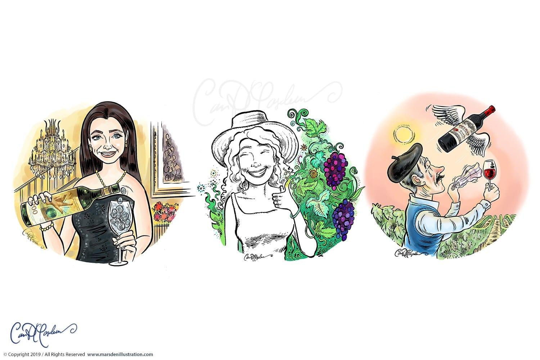 Schweizer Land Liebe Illustrationen zur Weinkolumne