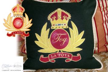 La Toya Jackson TOY Crest Design on Pillow