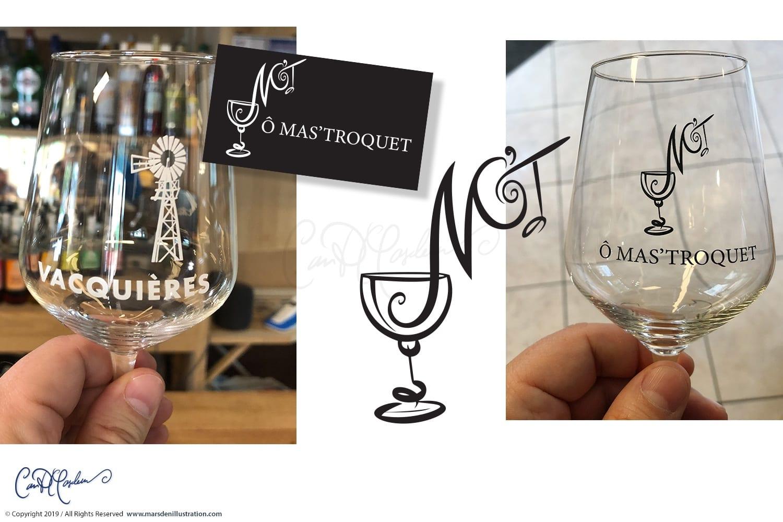 Vector Logos on Wine Glasses