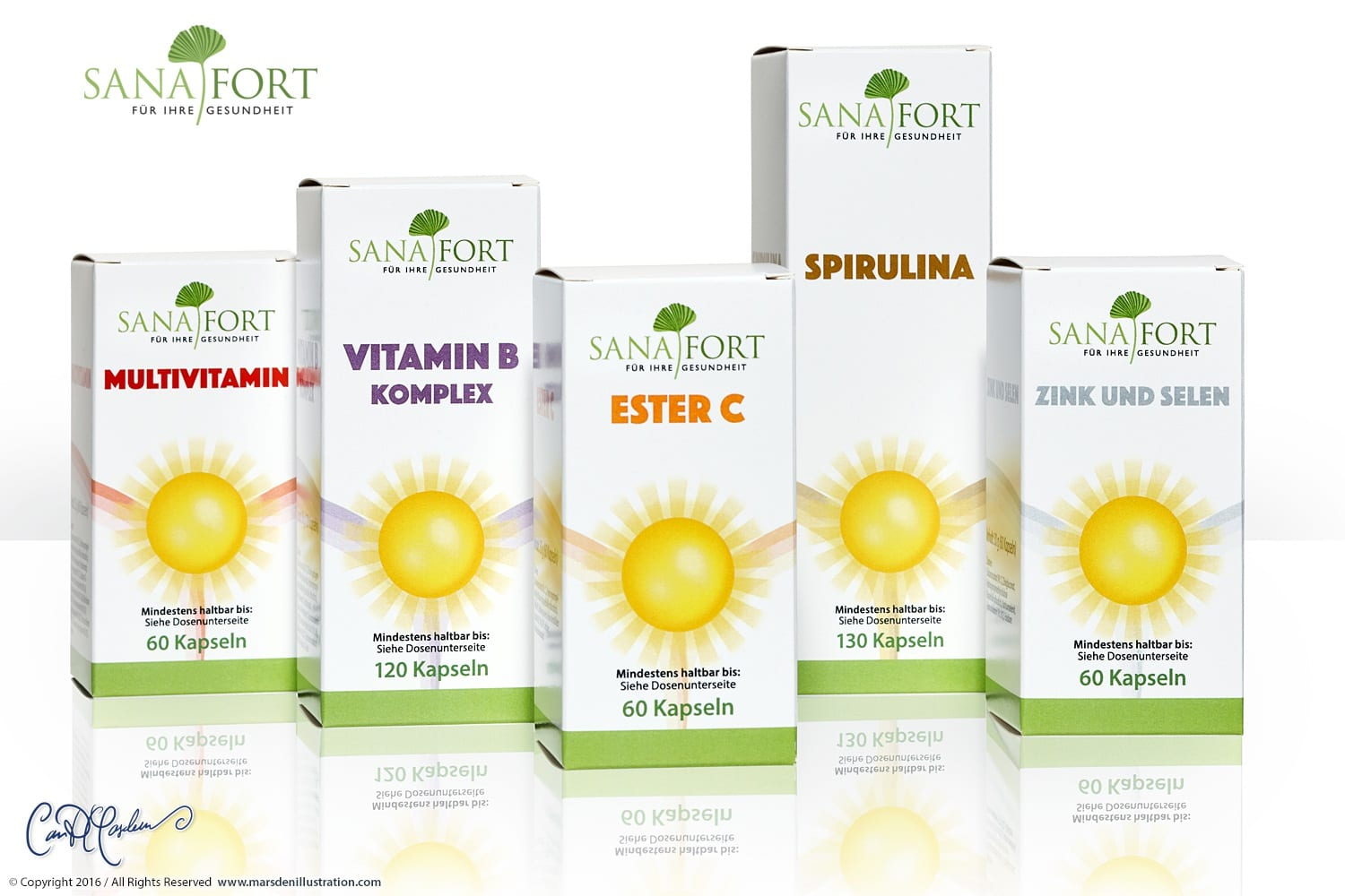 Full Line of Health Products  - Packaging and CI Design Sanafort