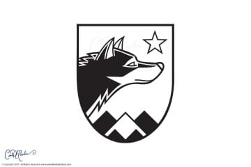 Wolfensberger Logo Crest Black and White