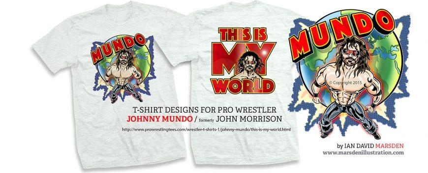 T shirt illustrations for pro wrestler Johnny Mundo
