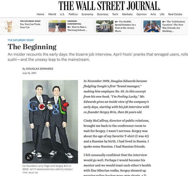 Wall Street Journal - Google The Beginning