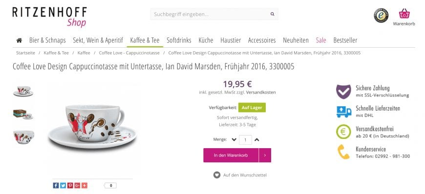 RITZENHOFF Coffee Love - Cappuccino Cups by Ian David Marsden