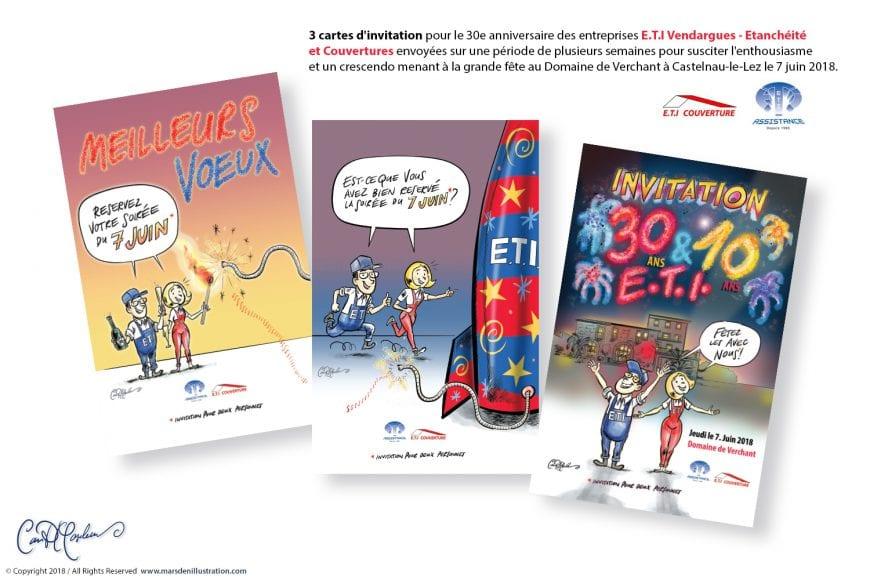 Cartes d'invitation pour le 30e anniversaire des entreprises E.T.I Vendargues - Etanchéité