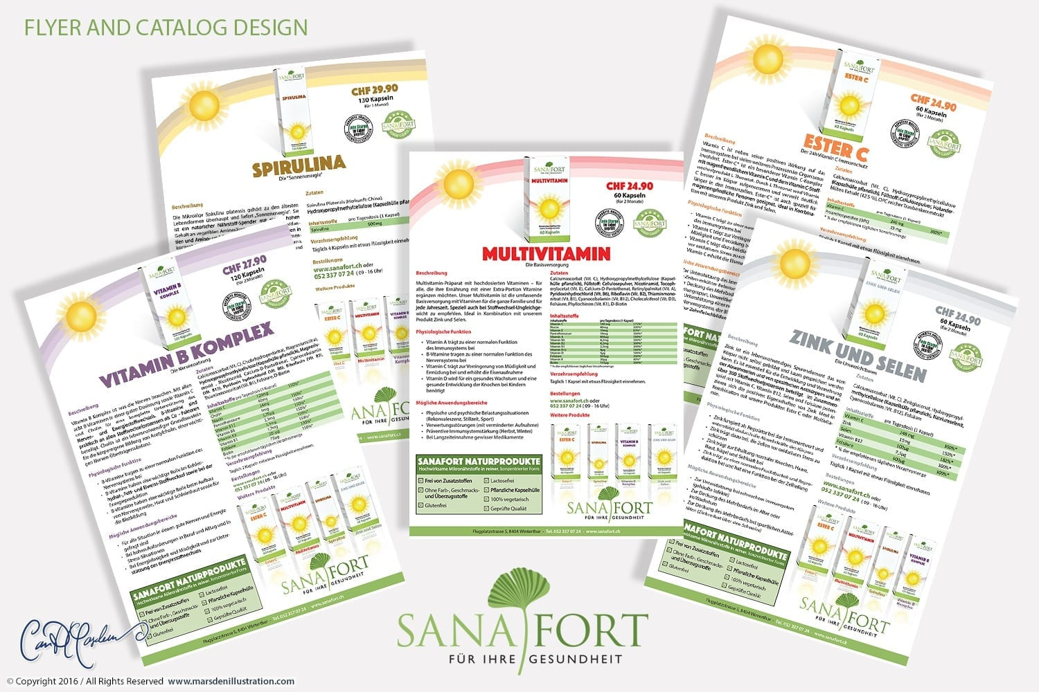 Sanafort Vitamins and Minerals Packaging, Catalog and Flyers